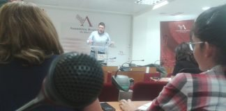 Comparecencia en rueda de prensa del portavoz en la Asamblea Regional de Ciudadanos, Miguel Sánchez.