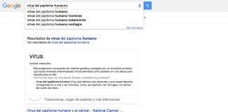 """Busqueda en Google de """"virus del papiloma humando""""."""