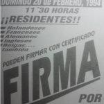 Cartel para la recogida de firmas realizada entre los vecinos para poner en marcha el proceso segregador en 1994