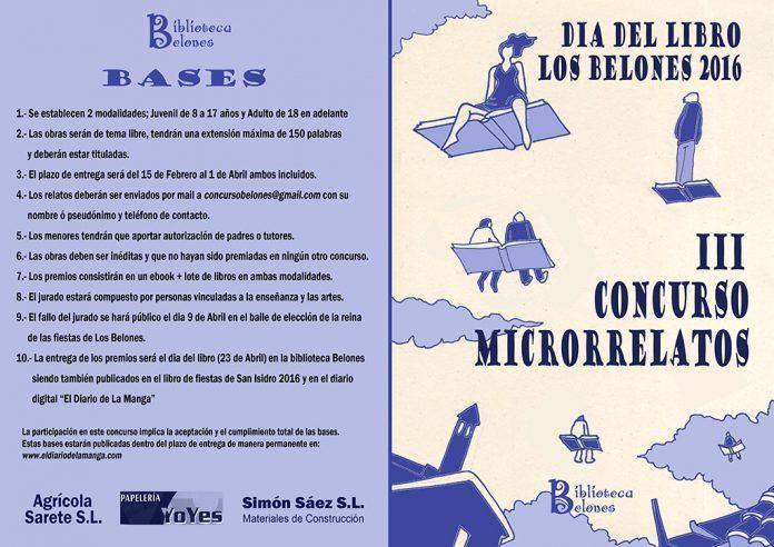 Cartel de la 3ª edición del concurso de microrelatos de Los Belones.