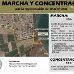 Cartel de la marcha y posterior concentración por la regeneración del Mar Menor.