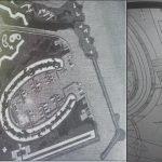 Maqueta original del proyecto portuario completo diseñado por Tomás Maestre. A la derecha, la pista de aterrizaje de avionetas prevista en Puerto Mayor