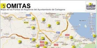 Distribución de las oficina OMITA repartidas por todo el municipio de Cartagena