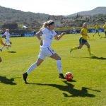 Un momento del partido disputado entre las selecciones femeninas de Inglaterra y Suecia en La Manga Club.