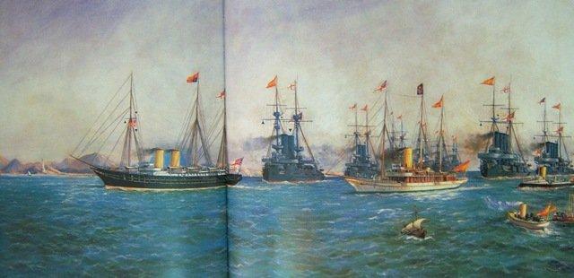 Óleo de Antonio de Caula y Concejo conmemorando el encuentro en aguas de Cabo de Palos de Eduardo VII y Alfonso XIII.