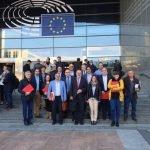 Imagen de la numerosa representación invitada por el PSOE-RM para informar en Bruselas de la situación del Mar Menor.