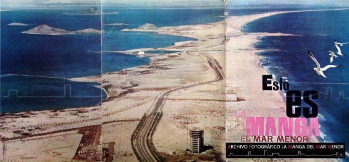 Portada de un folleto desplegable turístico de La Manga en 1965.