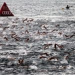 Una espectacular imagen de la salida de los nadadores del puerto de Cabo de Palos
