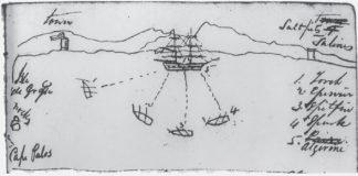 Dibujo realizado por Peter M. Potter, a bordo de la balandra USS Spitfire, que muestra el esquema del combate. En el dibujo se muestra el cabo de Palos, coronado por la torre de vigilancia que precedió al actual faro, las islas Hormigas y una segunda torre en la zona de salinas que corresponden a San Pedro del Pinatar. Por tanto, el combate debió tener lugar frente a La Manga y no a mucha distancia de la costa.