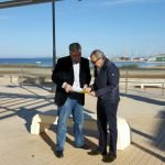 El director general del Agua, Andrés Martínez, ha visitado la zona en la que se va a construir un tanque de tormentas en Los Nietos.