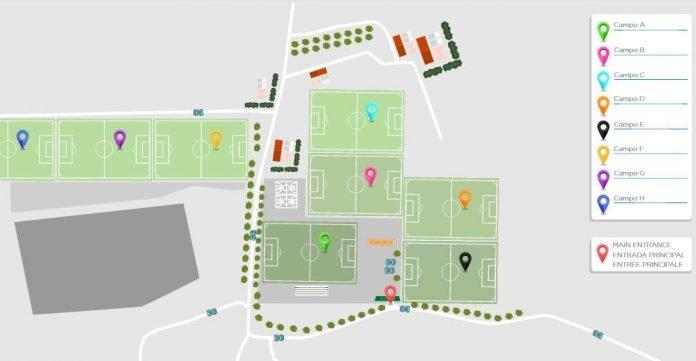 Distribución de los campos de fútbol de La Manga Club donde se van a desarrollar los partidos de los equipos europeos hospedados en el complejo.