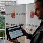 Pleguezuelo durante la presentación del programa de participación ciudadana de la Región de Murcia.
