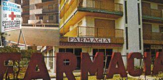 Una inédita imagen de la Farmacia del Edificio Miramar y Clínica de Las Sirenas en los años 70.